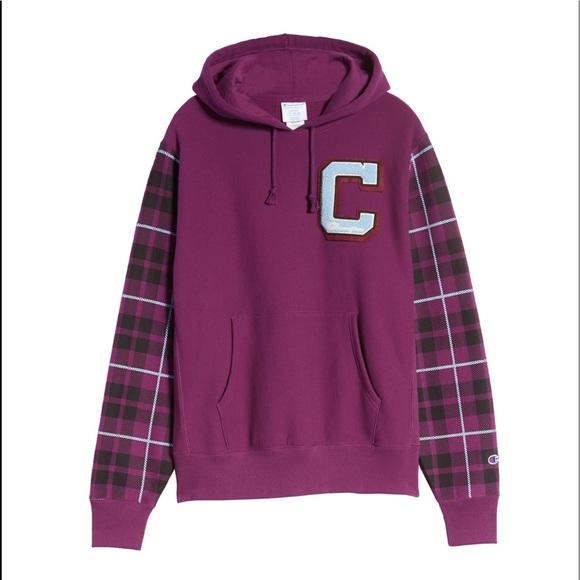Champion Plaid Printed Hooded Sweatshirt sweater